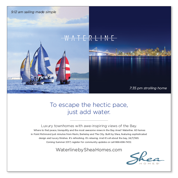 Sailboats and skyline Shea Homes print advertisement