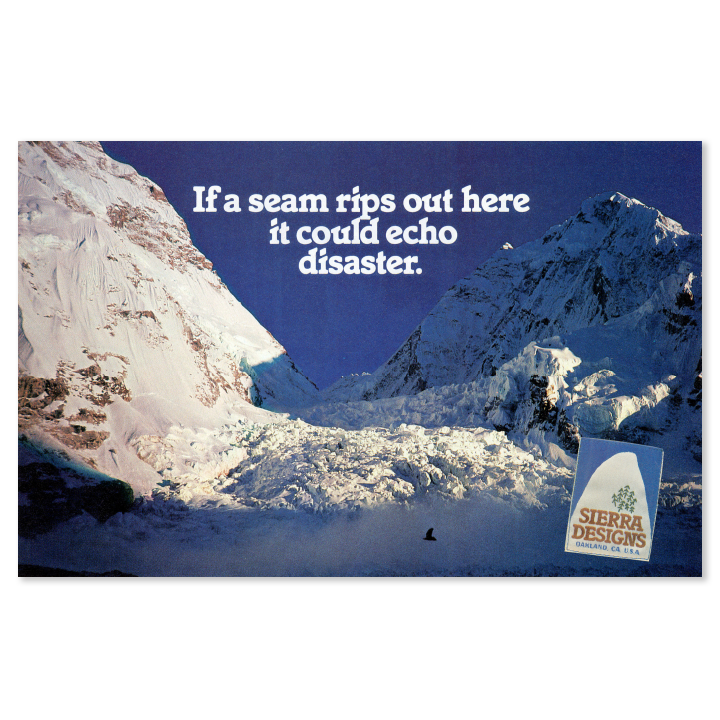 Sierra Designs snowy mountain print advertisement