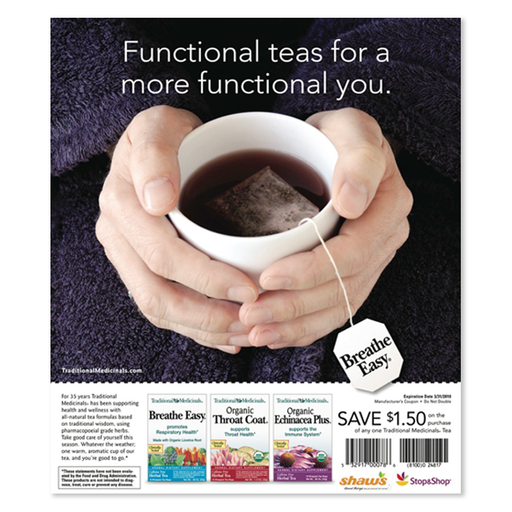 Breathe Easy tea cup print advertisement