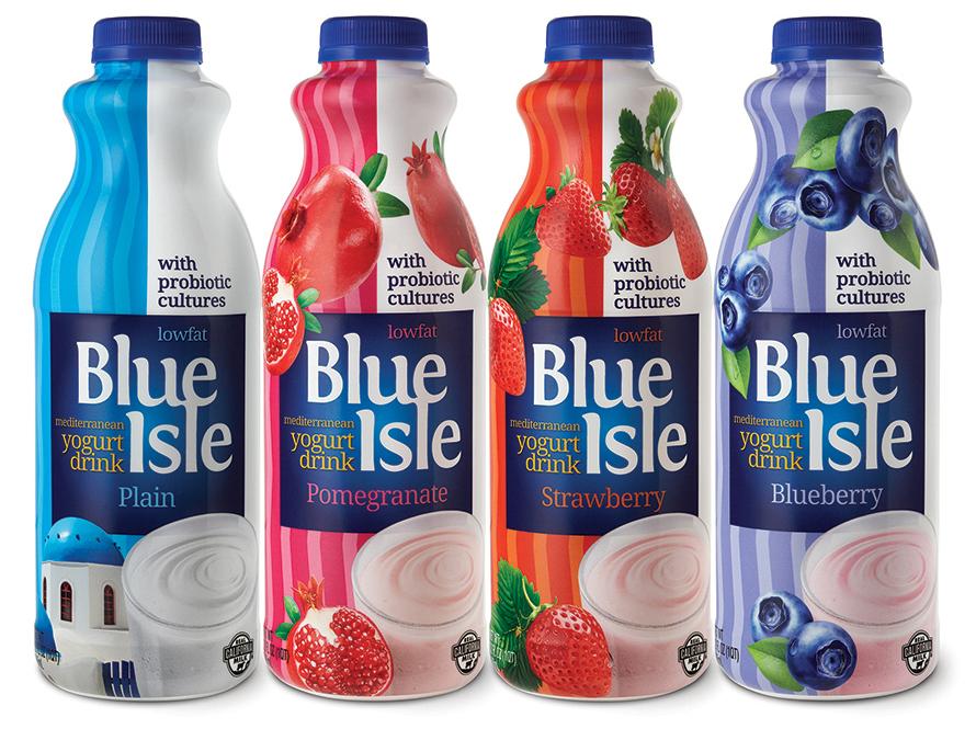 Branding and packaging design Blue Isle Yogurt kefir