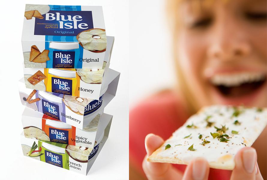 Marketing and packaging of Blue Isle yogurt spreads