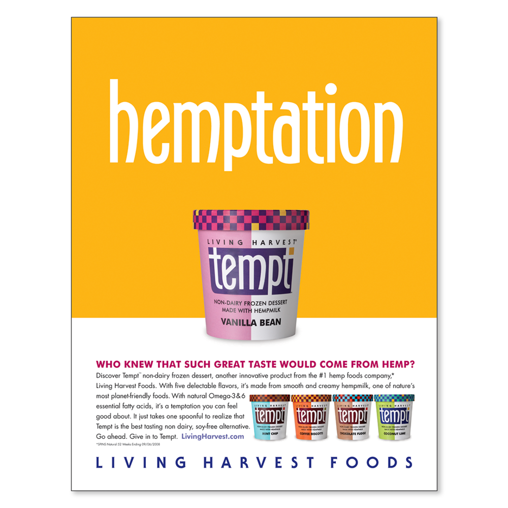 Tempt hemptation print advertisement