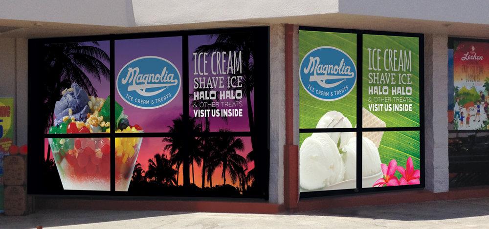Magnolia Ice Cream & Treats window graphics, Waipahu, HI