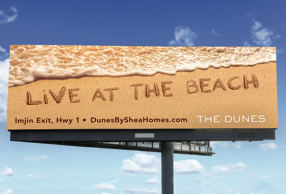 Billboard advertisement live at the beach The Dunes