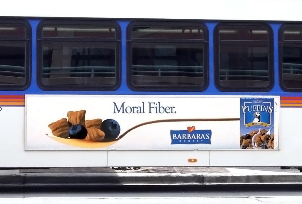 Barbara's Bakery bus advertisement