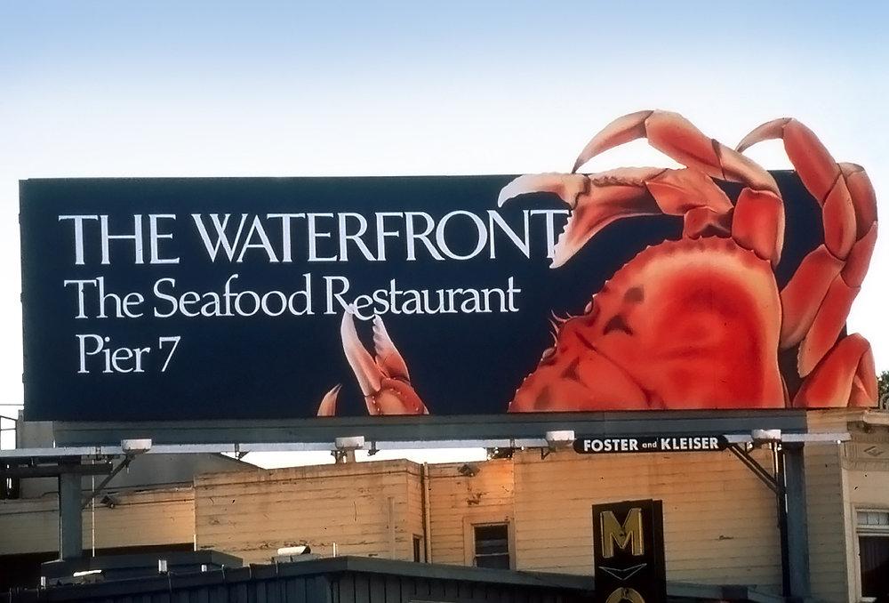 The Waterfront restaurant billboard