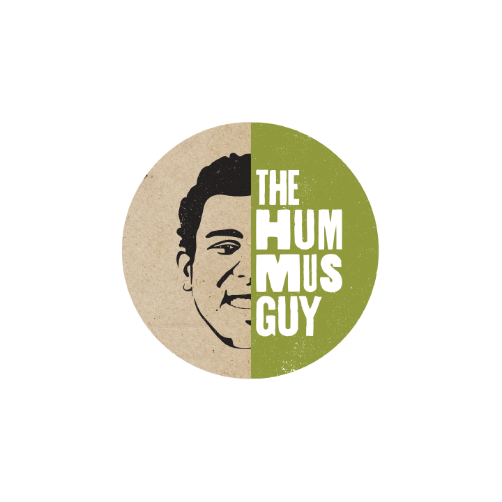 business advertising logo for hummus guy