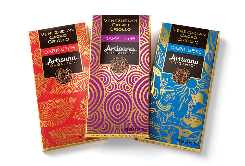 Artisana organics chocolate bar branding design