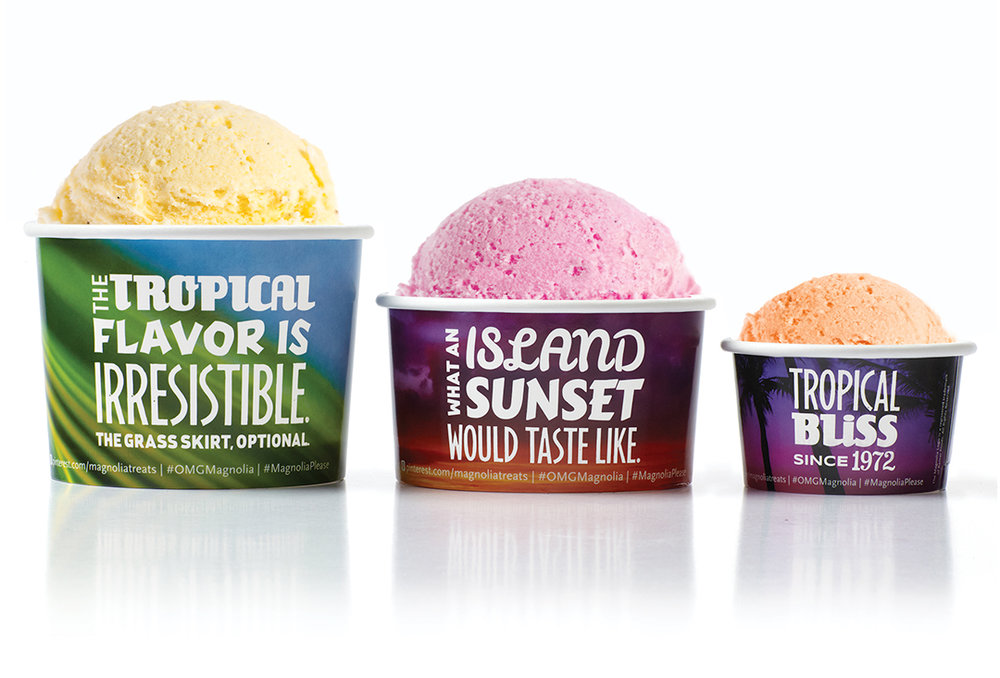Magnolia ice cream packaging