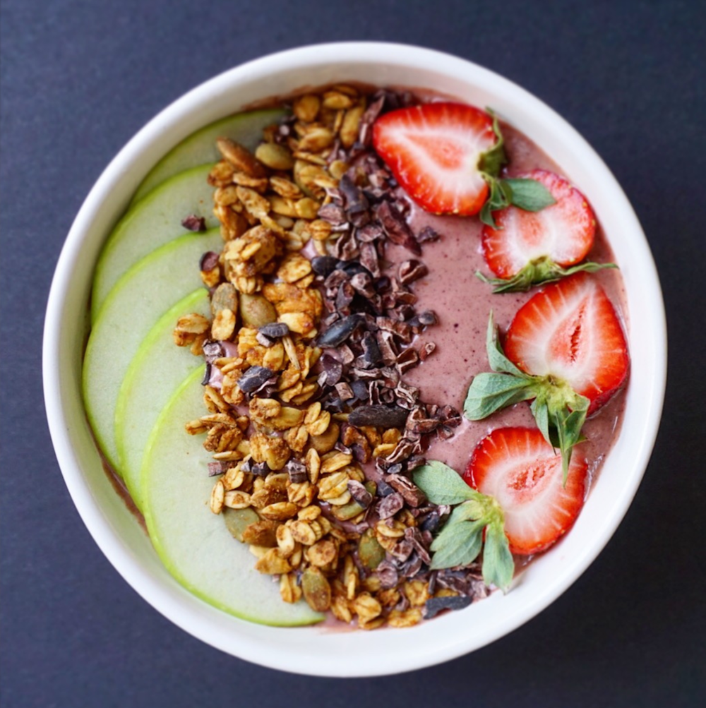 Pictured here is my go-to Superfood Smoothie bowl with my favourite protein powder,  Good Stuff by ViraOne