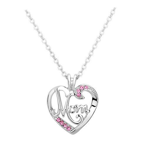 Mom heart pendant necklace diamondwize mom heart pendant necklace mozeypictures Image collections
