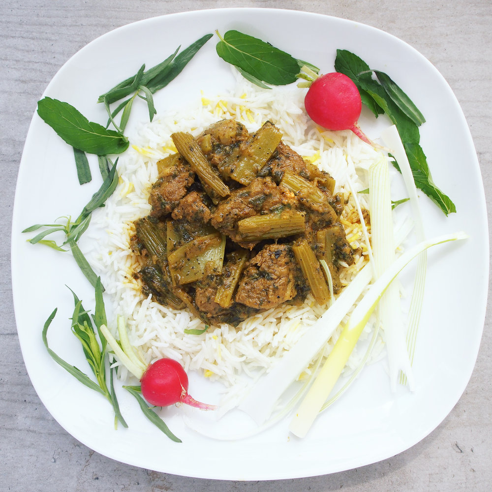 Khorest-e Karafs is a delicous lamb stew braised for over an hour with celery, parsley, and mint