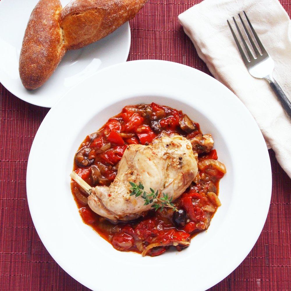 Rabbit Cacciatore is the perfect dinner recipe for your Easter or other holiday meal. It's also a healthy meal for any dinner party.