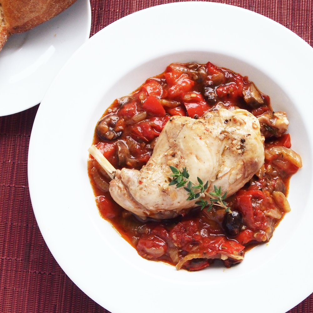 Rabbit cacciatore is so tasty because it's paired with ripe tomatoes, olives, and herbs to bring out the best flavors of the tender protein!