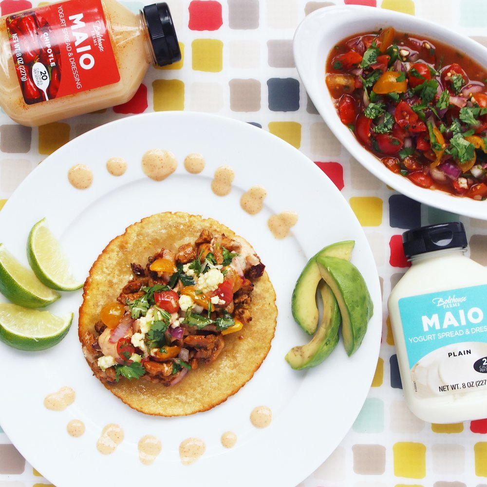 MAIO is a delicious yogurt spread that is lower in calories and a good alternative to mayonnaise. Perfect on these Spicy Chicken Tacos!