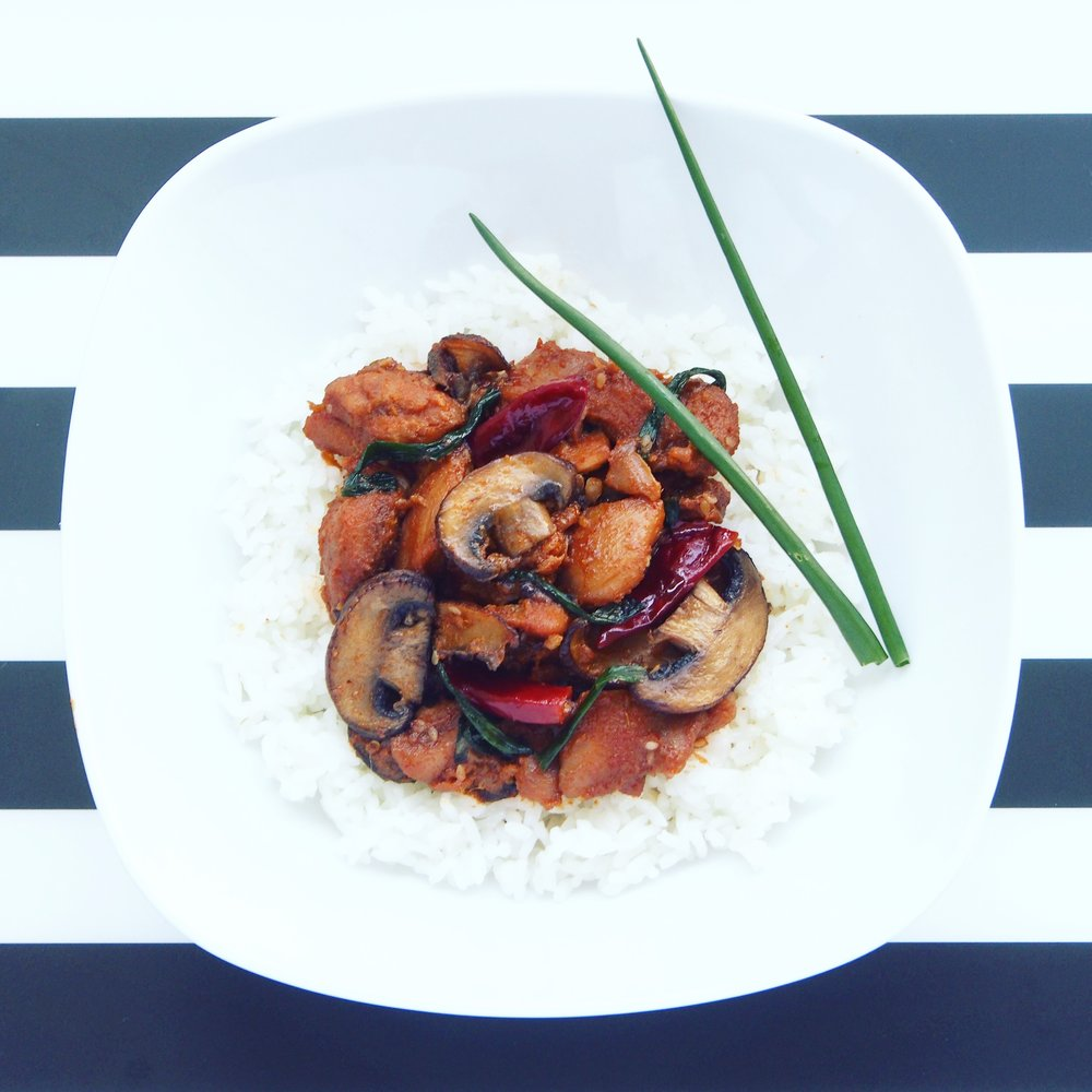 A spicy Korean stir-fry recipe with chicken and mushrooms that is sure to please! Combined with tasty ingredients including fresh green garlic, ginger, and spicy dried birdseye chilies, you're going to love very bite of this delicious Korean recipe!