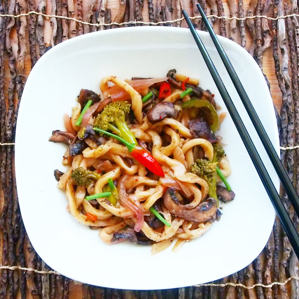These Stir-Fried Udon Noodles with Mushrooms and Broccoli are super delicious! Simply chop up your stir-fry recipe ingredients quickly, then toss them in the pan with the cooked udon, and you have a delicious stir-fry awaiting you shortly!