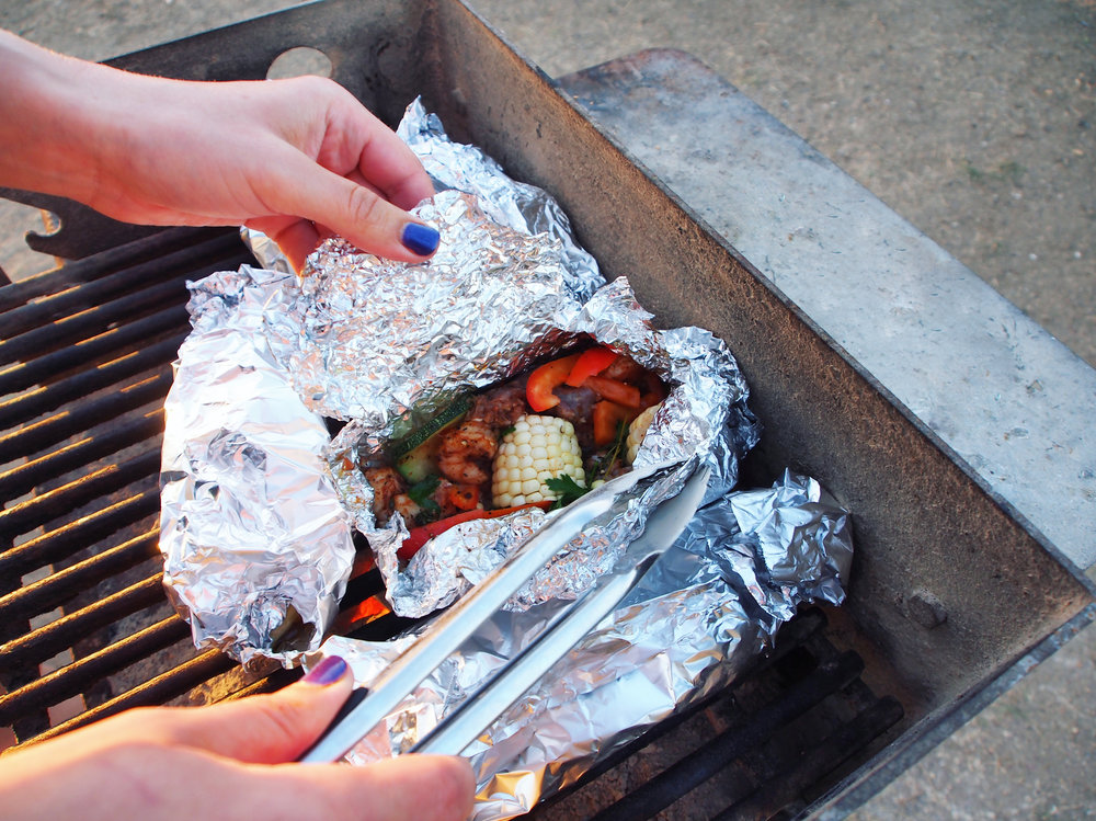 These grilled vegetables and sausage are spicy and cooked to perfection!