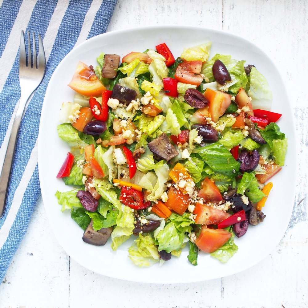 Purple Carrot's Vegan Greek Salad recipe is a perfect alternative a regular Greek Salad recipe. Serve the recipe up for lunch and dinner and you will enjoy!