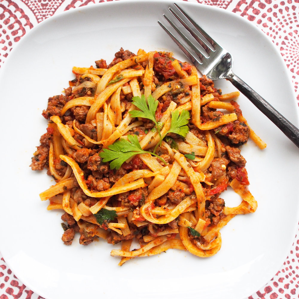 A low-carb pasta recipe that is perfect for a keto diet, atkins diet, or low-carb diet. It is made from Palmini noodles, which are made from hearts of palm. Perfectly served with a sausage ragu, this is the best low-carb noodle recipe you will find.