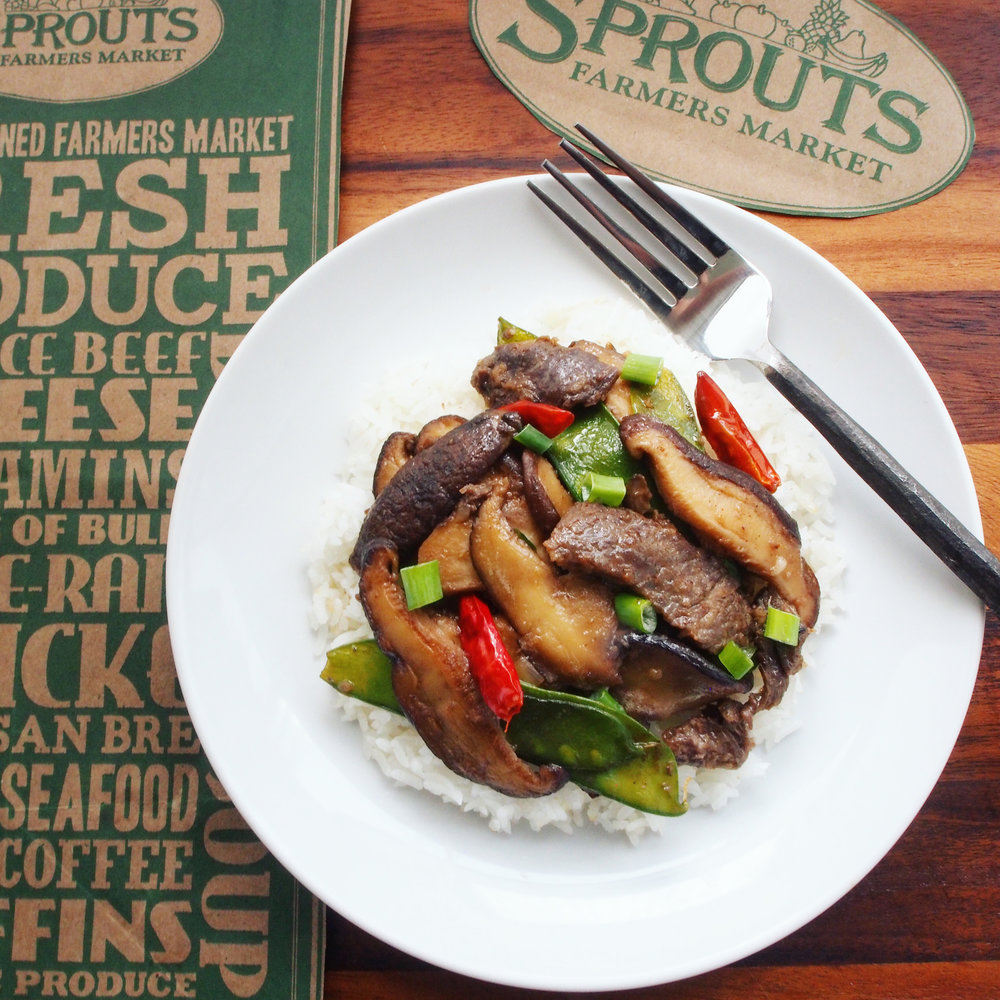 This quick and easy beef stir-fry with shiitake mushrooms and snow peas recipe is a delicious way to celebrate a delivery from Sprouts Farmers Market that is powered by Instacart and now available in the Oakland and Alameda area!