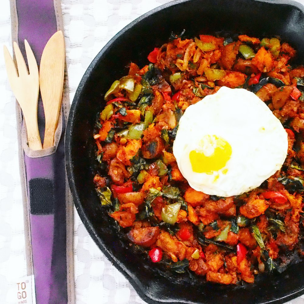 This Sweet Potato Hash Recipe is a take on a typical hash with healthy ingredients. The sambal bajak means that it's Indonesian flavored and the sweet potatoes and kale means it's nutrient dense!