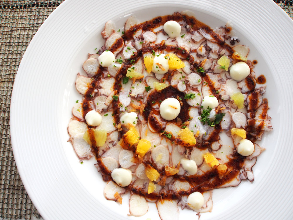This pulpo carpaccio from indigo beach club is a delicious lunch at Indigo Beach Club's restaurant in Playa del Carmen