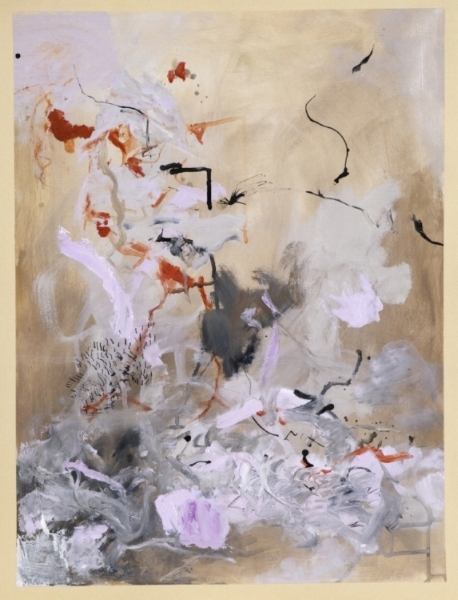 "Dancing Spirits, #246,  24 x 18"", water based oil and india ink on paper"