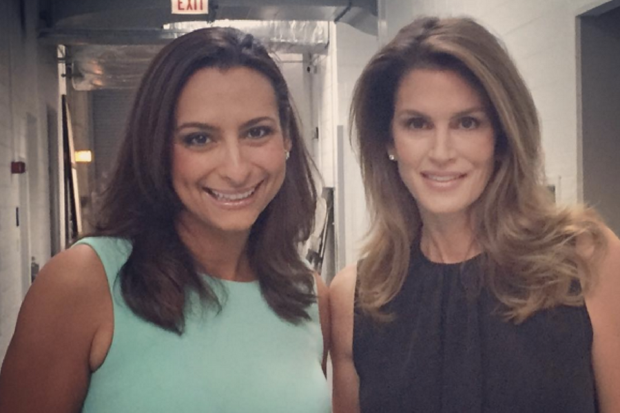 On set at WGN with Cindy Crawford