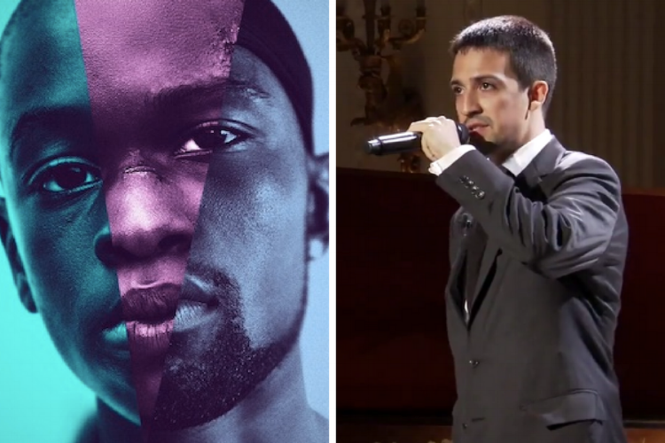 "Left to right: ""Moonlight"" Press Cover, Lin-Manuel Miranda, WikiCommons"