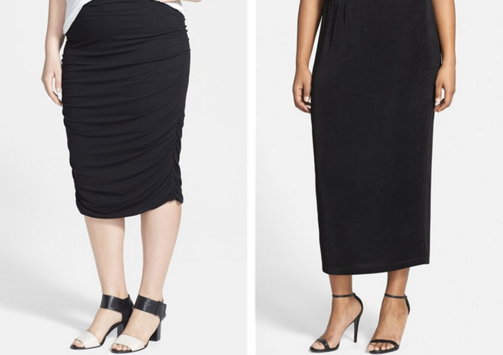 Left to right:  Vince Camuto Stretch Knit Midi Skirt ;  Vikki Vi Straight Midi Skirt