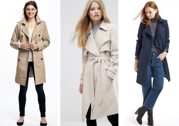 From left to right:  Old Navy Trench Coat ;  Asos Waterfall Trench ;  Gap New Classic Trench