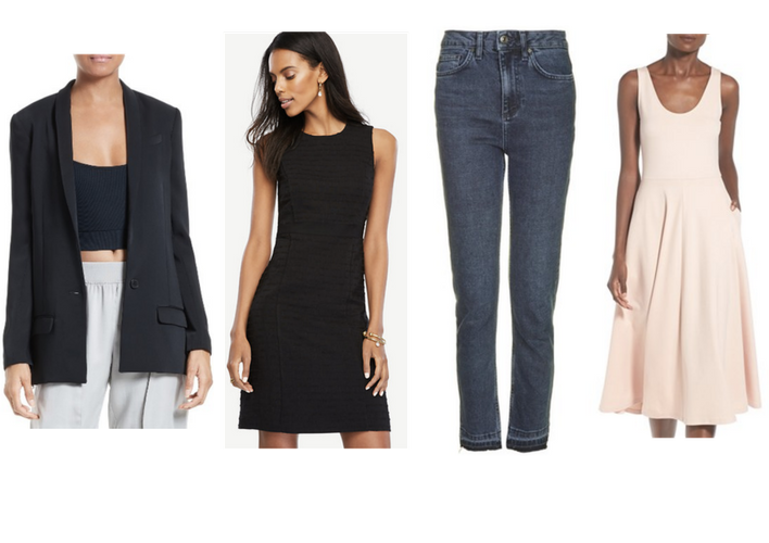 From left to right:  ATM Blazer ;  Ann Taylor Tweed Sheath Dress ;  ASOS Moto Midnight Jeans ;  Nordstrom A-Line Tank Midi Dress