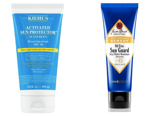 From left to right: Kiehl's Activated Sun Protector $29.00 | Jack Black Oil-Free Sun Guard $18.90