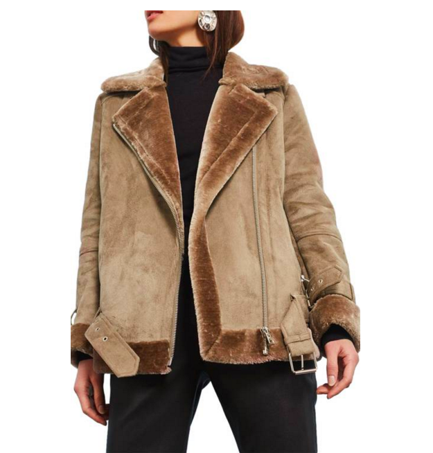 - Topshop Faux Shearling Biker Jacket, $150