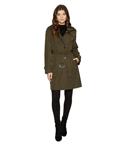 - MICHAEL KORS BUTTON FRONT HOODED TRENCH, $127