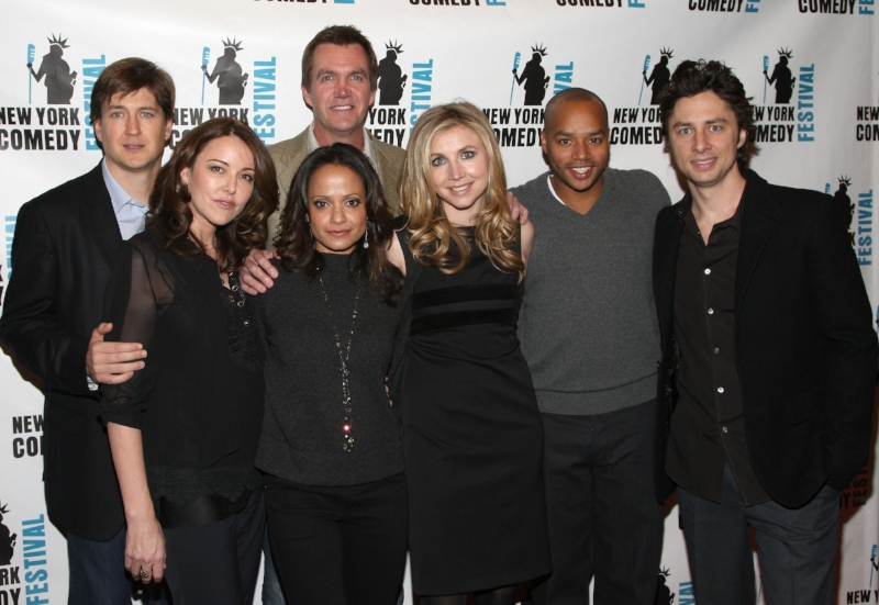 "Reyes with her ""Scrubs"" cast. Photo by Jason Kempin/FilmMagic / Getty Images"