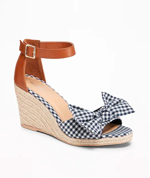 3. Gingham Bow-Tie Espadrille Wedges - $27.97
