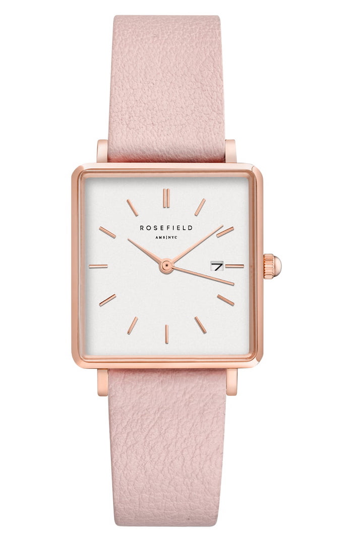 Rosefield - The Boxy Leather Strap Watch, $99
