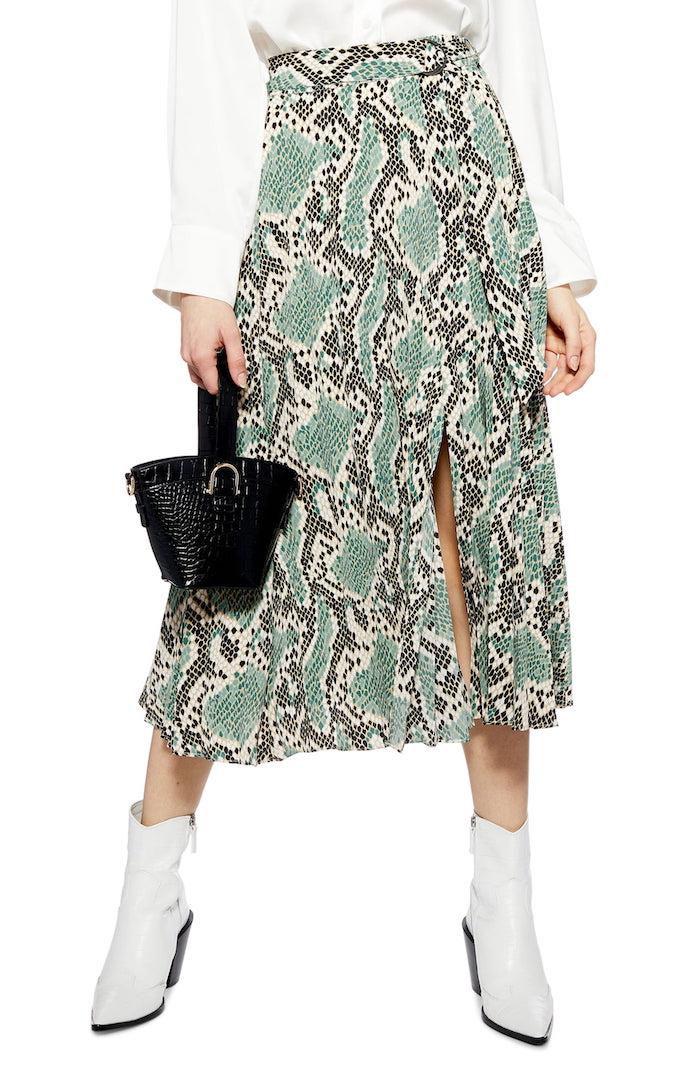 Topshop - Python Print Pleat Midi Skirt