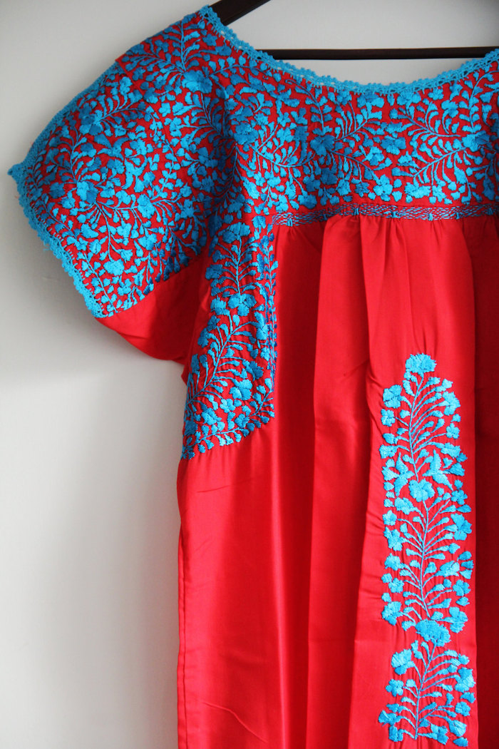 3. Casa Otomi - Red with Turquoise Embroidery Mexican Dress
