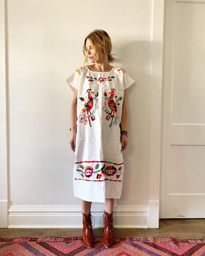 6. Red Poppy Vintage Shop - White Mexican Kaftan