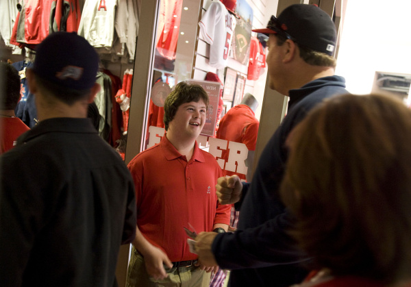 Trevor greeting Angel fans at his first day of work in 2012.
