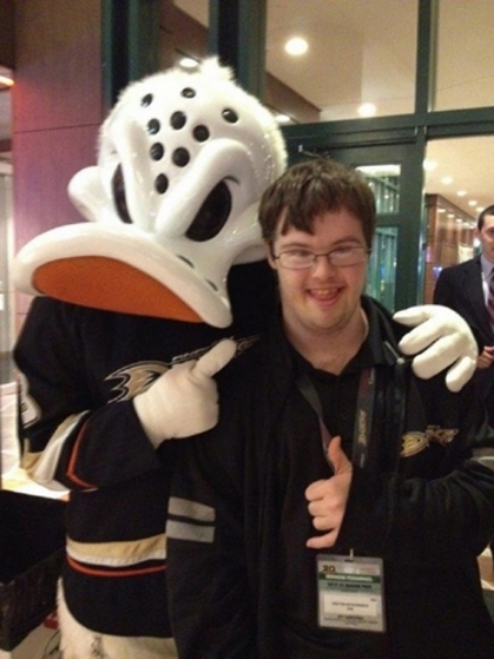 Trevor with the Anaheim Ducks' mascot, Wild Wing!