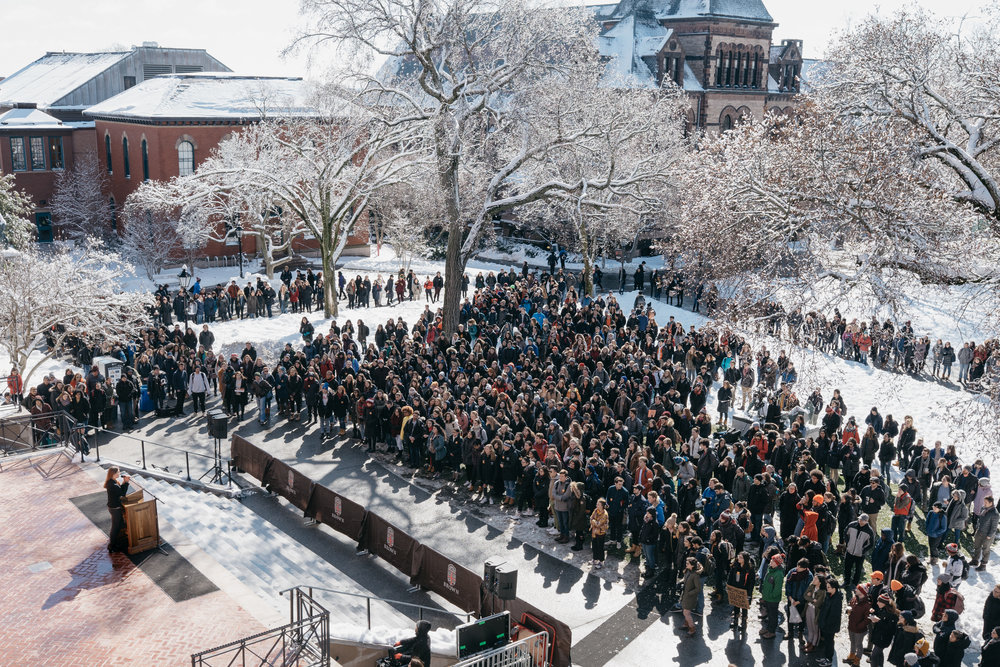 Walkout on gun violence, March 14 2018 @ Brown University.
