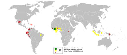 Plekken waar cacao verbouwd wordt.