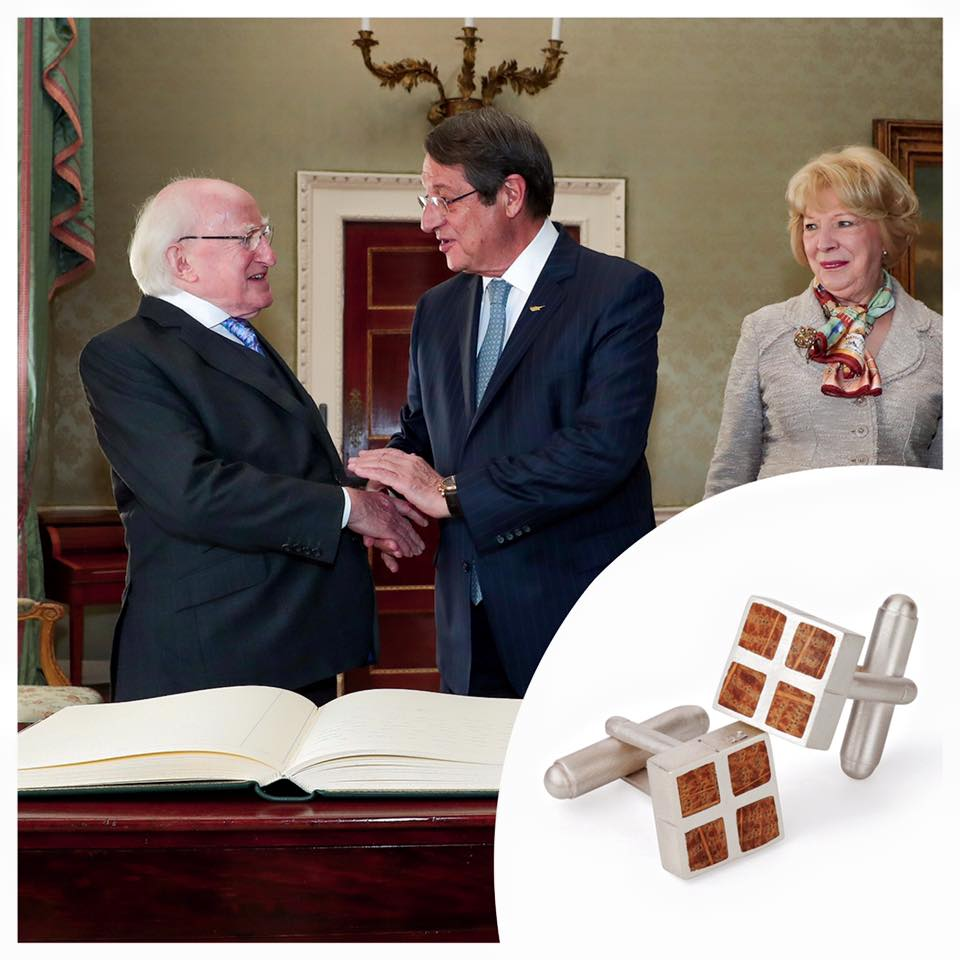 Irish President Micheal D Higgins presenting a set of my Cufflinks to the Cypriot President