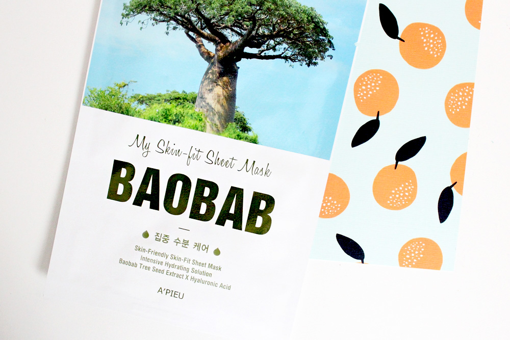 sheet mask apieu skin-fit baobab skincare korean beauty