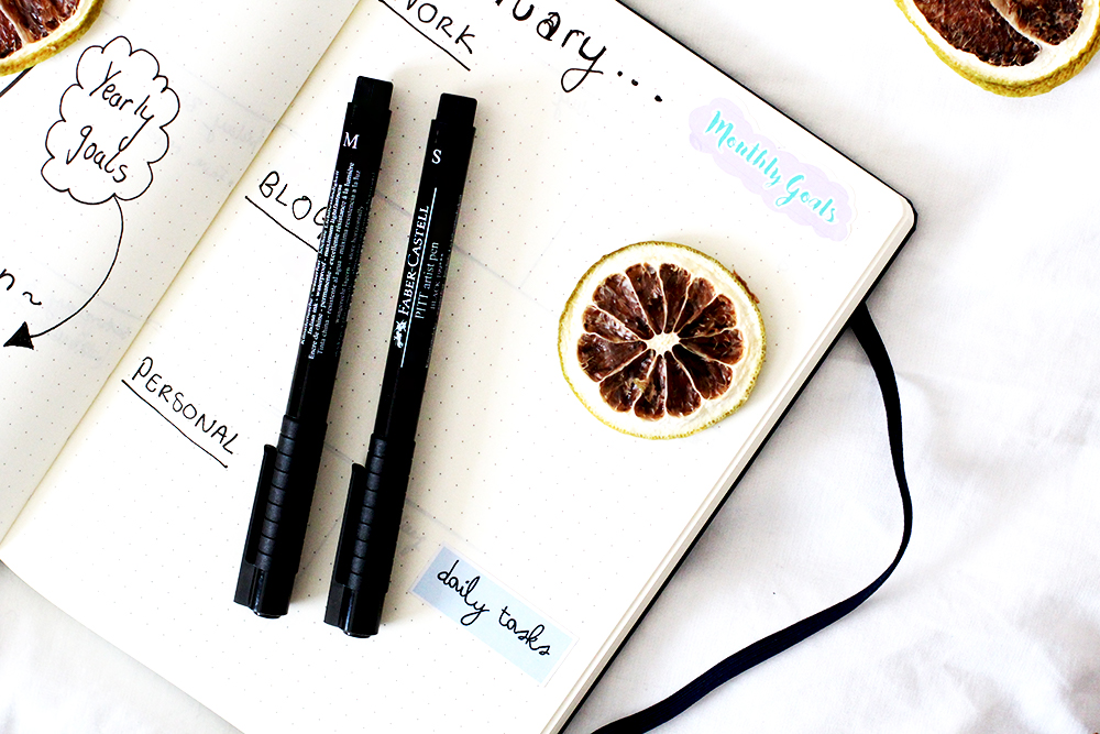 5 ways to plan ahead for your blog or biz. Bullet journal monthly spread.