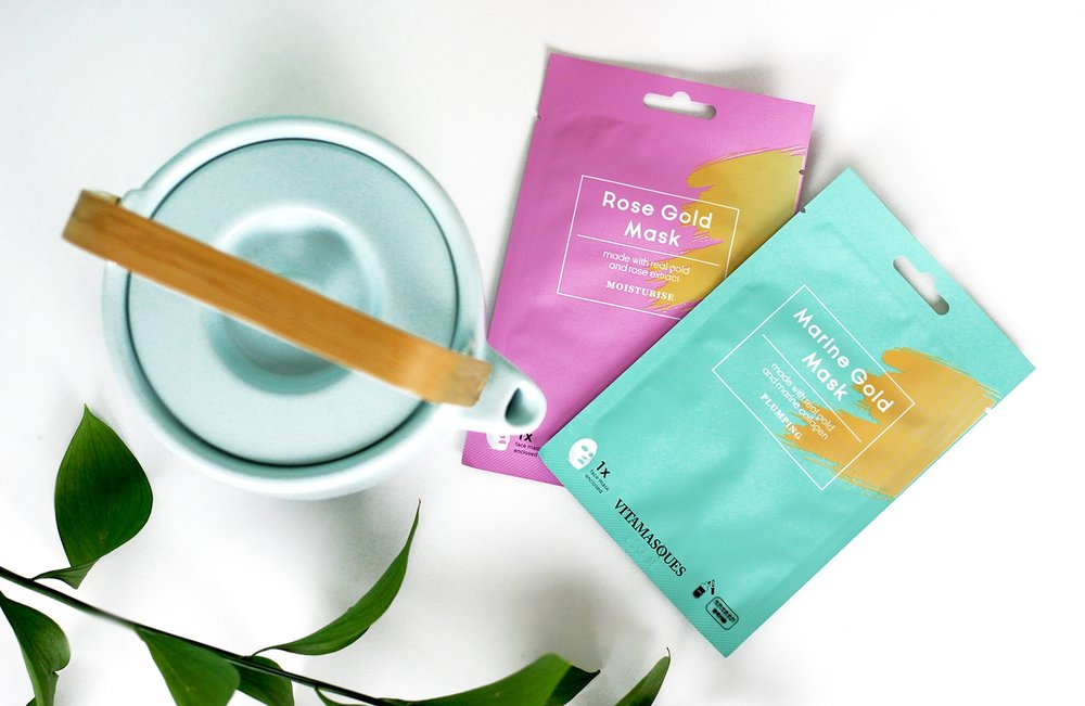 Self care with Vitamasques Sheet Mask gold collection
